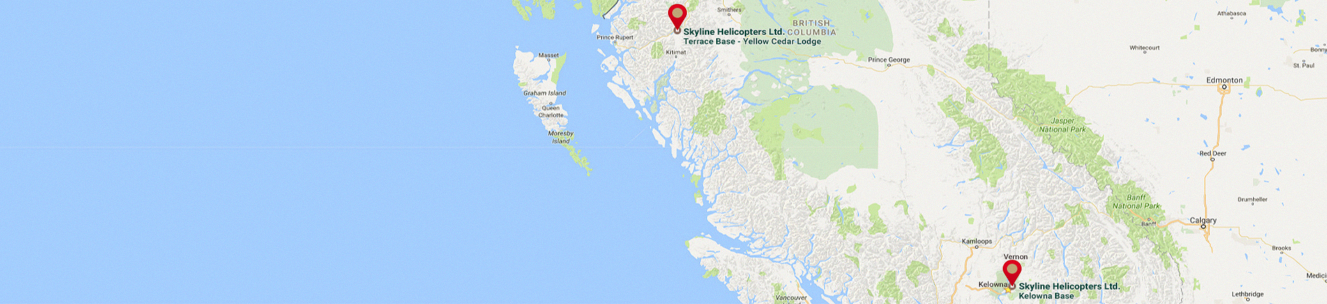 Skyline Helicopters heli skiing holidays hydro forestry tours Kelowna Terrace BC Map