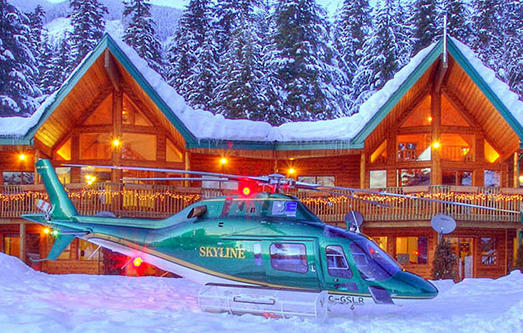 Skyline Helicopters heli skiing holidays hydro forestry tours Kelowna Terrace BC Yellow Cedar Lodge